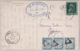 Bayern - 5 Pfg. Luitpold Karte N. FRANKREICH Nachporto, Gmain - Paris 1912 - Bavaria