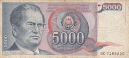 BANCONOTA JUGOSLAVIA 5000 VF (HB393 - Yugoslavia