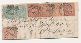 1873 VITTORIO EMANUELE II PICCOLA BUSTA CON 2X 0,05 + 5 X 0,02 DI 2 TONALITA DIFFERENTI BOLOGAN X PESARO CON TESTO - Marcofilía