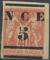 D - [41641]TB//*/Mh-Nouvelle Calédonie 1883 - DOC6-cu, N° 6-cu, 1883-84, 5 Sur 40c Rouge, Grandes Marges Et Surcharge 'N - Neufs