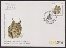 Montenegro 2019 Balkan Lynx Animals Fauna Mammals Cats Of Prey FDC - Montenegro