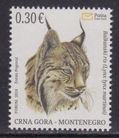 Montenegro 2019 Balkan Lynx Animals Fauna Mammals Cats Of Prey Stamp MNH - Montenegro