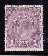 Australia 1922 King George V 1d Violet Single Crown Used - WARRNAMBOOL, VIC - Usados
