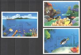 H553 MALDIVES FISH & MARINE LIFE BUTTERFLYFISH CLOWNFISH 3BL MNH - Vita Acquatica