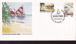 Cocos Keeling Islands 1979 Christmas Sc 51-52 FDC - Cocos (Keeling) Islands