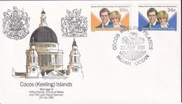 Cocos Keeling Islands 1981 Royal Wedding Sc 73-74 FDC - Cocos (Keeling) Islands
