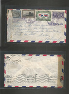 PANAMA. 1943 (16 March) GPO - Portugal, Lisboa (9 June) Censor Air Multifkd Envelope. - Panama