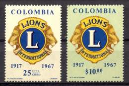 Colombia, 1967, Lions International, Service Club, Charity, MNH, Michel 1106-1107 - Colombia