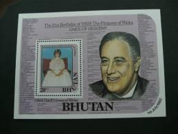 M10080 - Bloc MNh Bhutan 1982 21st. Birthdsay Of HRH The Princess Of Wales And Franklin D.Roosevelt   Sc.334 - Bhutan