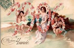 CPA Bonne Année 1906 : Anges Et Femme - Gaufrée - Nouvel An
