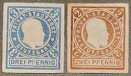 Germany  Privatpost/Stadtbrief Stuttgart 1889 2 & 3 Pfg (2 Pfg Hinge Rest ) Unused - Sello Particular
