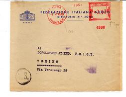 1940 EMA Affrancatura Meccanica Rossa Freistempel Roma Stadio P.N.F. II° Tipo Macchina 1586 Del CONI Con Era Fascista - Non Classificati