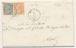 1864 VITTORIO EMANUELE II DE LA RUE 0,05+ 0,10 ROSSANO DOPPIO CERCHIO CON TESTO X NAPOLI - Marcofilía