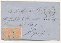 1865 VITTORIO EMANUELE II DE LA RUE COPPIA 0,10 CENT ROSSANO DC X NAPOLI CON TESTO - Marcofilía