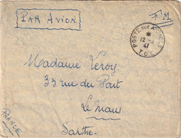 LAOS  -Lettre Militaire En Franchise Du 12/3/47 Avec Un Courrier Intéressant - Laos