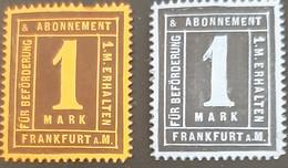 Germany Stadtpost/Privatpost Frankfurt 2 X 1 Pfg  1888 Michel 41? & 45 - Sello Particular