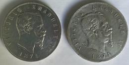 Italia : Two Very Nice Coins - 5L - Vitorio Emmanuele II - 1871-1874 - Cleaned -Very Nice State - 1861-1878 : Víctor Emmanuel II