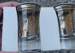 Two Brandy Stamps Dvije Stamplice, Manastir Studenica  Serbia, Zlato - Platina 12 Karata, Gold - Platinum 12 Carats - Glasses