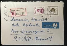 Pologne 1988 Recommandé De Varsovie Vers Quaregnon (Belgique) - Storia Postale