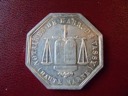Beau Jeton De Notaire  Argent  Arrondissement De VASSY Haute Marne . 1851. - Professionals/Firms