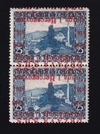 Bosnia And Herzegovina SHS, Yugoslavia - Landscape Stamp 25 Heller, Vertical Pair, MNH, Double Overprint, One Of Which I - Bosnia Erzegovina