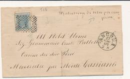 1869 VITTORIO EMANUELE II ANCONA CERCHIO PICCOLO + NUMERALE A PUNTI + MATASSINE DI SETA PER CAMPIONE - Marcofilía