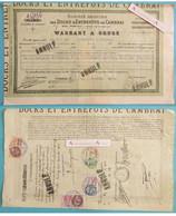 Warrant à Ordre Annulé 1928 Docks & Entrepôts De CAMBRAI > Fabricant De Chicorée - Timbres Fiscaux - Rare Titre - Other