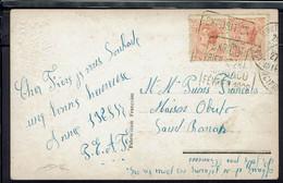 """Monaco - Affr. à 50 C. Prince Louis II Paire, Sur CPA """"Bonne Année"""" Oblitération Daguin Expo De Monaco Février 1928 - - Covers & Documents"""