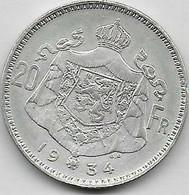 20 Francs Argent 1934 FL Pos B - 11. 20 Francs & 4 Belgas