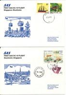 Singapore - Sweden SAS First DC-10 Flight Singapore - Stockholm 18-1-1986 And Return 19-1-1986 2 Covers - Singapore (1959-...)