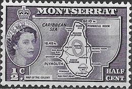 MONTSERRAT 1953 Queen Elizabeth II - 1/2c Map MH (Inscribed Colony) - Montserrat