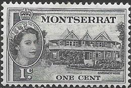 MONTSERRAT 1953 Queen Elizabeth II - 1c Government House MH - Montserrat
