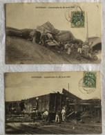 Coutras -Gironde-Lot De 2 Cartes -chemin De Fer--catastrophe Du 24 Août 1907-1 - Catástrofes