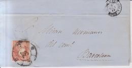 Año 1856 Edifil 48 4c  Sello Isabel II  Carta   Matasellos  Rueda De Carreta 37 Palma De Mallorca - Briefe U. Dokumente