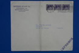 S17 URUGUAY  BELLE LETTRE 1937 MONTEVIDEO  POUR GENILLE FRANCE+ BANDE DE 3 T.P + AFFRANCHISSEMENT INTERESSANT - Uruguay