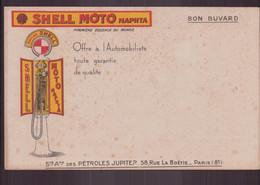 """Buvard ( 21 X 13.5 Cm ) """" Shell """" Moto Naphta ( Rousseurs Pliure ) - Transports"""
