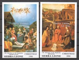 Sierra Leone 1990 Mi Blocks 145-146 MNH CHRISTMAS - PAINTINGS - Christmas