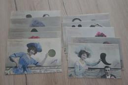 Série 10 CPA Bergeret Coloriées La Ponctuation - Women