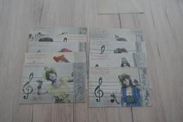 Série 10 CPA Bergeret Coloriées La Musique - Women