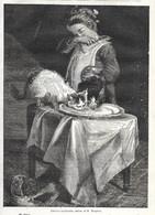 GRAVURE De 1884.. Convives Inattendus.. Tableau De M. MONGINOT... CHAT - Prints & Engravings
