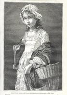 GRAVURE De 1884.. Allant à L'Ecole.. Tableau De Mlle Jeanne BOLE.. Jeune FILLE - Prints & Engravings