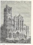 GRAVURE De 1884.. BOURGES (18). La Cathédrale Un Jour De Fête.. Dessin De NOUGIN - Prints & Engravings