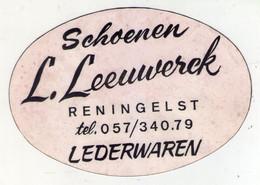 AUTOCOLLANT . STICKER . RENINGELST . MAGASIN  SCHOENEN .CHAUSSURES . L. LEEUWERCK . LEDERWAREN . MAROQUINERIE - Stickers