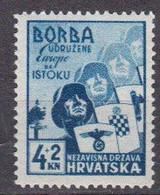 Croatie 1941 Yvert 49 ** Neuf Sans Charniere Pour La Legion Des Volontaire De L'Est - Croacia