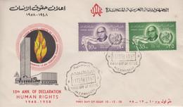 Enveloppe  FDC  1er  Jour   EGYPTE   10éme  Anniversaire   Déclaration  Universelle  Des   DROITS  DE  L' HOMME   1958 - Briefe U. Dokumente