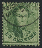 Belgium 1863 Medaillons Perf. 1c Green Lightly Used With Circular Postmark, Perfect Condition, COB 13A - 1863-1864 Medallones (13/16)