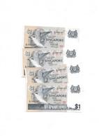 LOT 4 PCS - SINGAPORE 1 DOLLAR UNC - Singapur