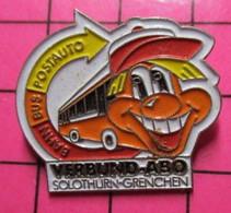 SP05 Pin's Pins / Beau Et Rare / THEME : TRANSPORTS / AUTOBUS ROUTIER ORANGE ET BLANC VERBUND-ABO SOLOTHURN-GRENCHEN - Transportation