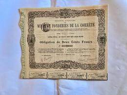 S.A.  Des  MINES  Et  FONDERIES  De  La  CORRÈZE  --------- Obligation  De  200 Frs - Bergbau