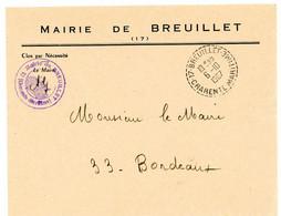 CHARENTE INFERIEURE ENV 1967 BREUILLET RECETTE DISTRIBUTION AVEC N° DEPARTEMENT DUREE MOINS DE 2 ANS - 1961-....